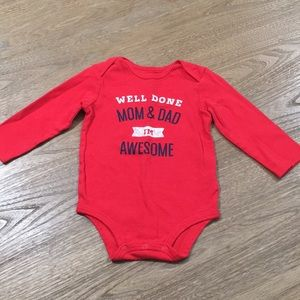 WELL DONE MOM & DAD I'M AWESOME Long-sleeve onesie